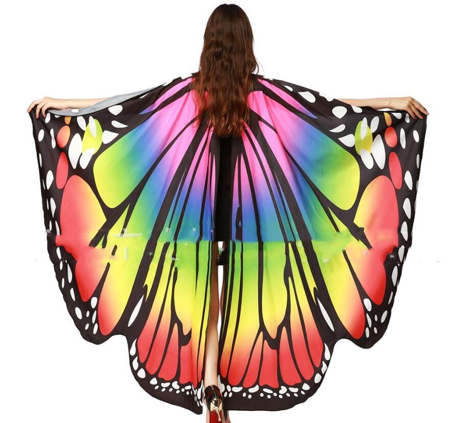 Женская Радужная шаль с крыльями бабочки, сказочный женский танцевальный костюм, аксессуары для взрослых, накидка с монохромой и бабочкой, ...