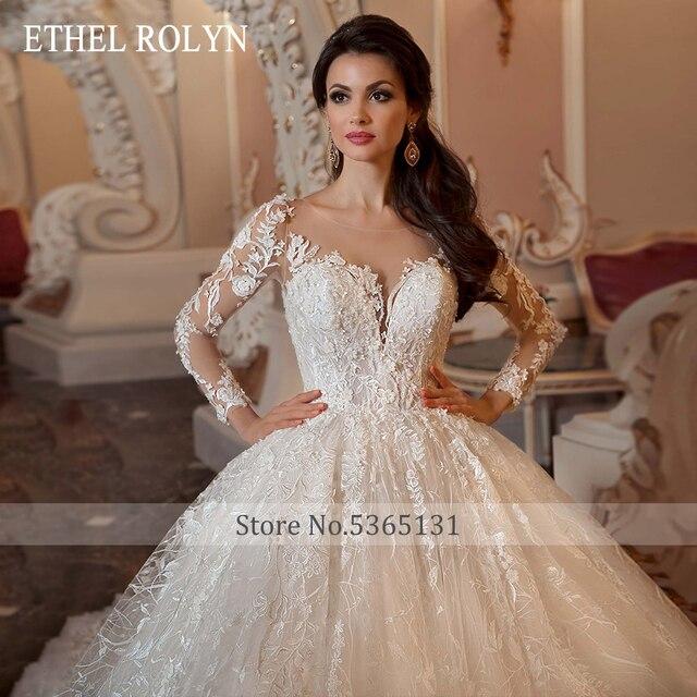 ETHEL ROLYN Lace Ball Gown Wedding Dress 2021 Long Sleeve Beading Appliques Vintage Bridal Princess Bride Dresses Robe De Mariee 2