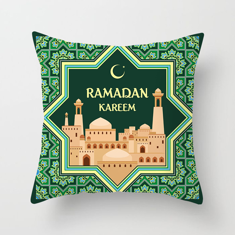 Image 3 - 45x45cm Cotton Ramadan Mubarak Cushion Cover Eid Mubarak  Decoration Home Islamic Muslim Party Favors Happy Eid Party  SuppliesParty DIY Decorations