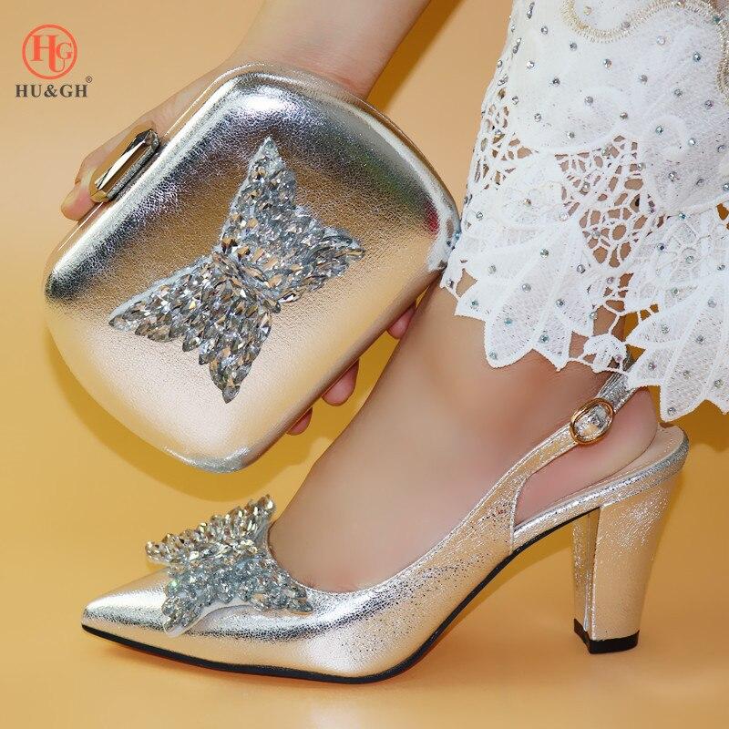 Chaussures italiennes et sac pour assortir les chaussures avec un sac ensemble de chaussures et de sacs de couleur argentée pour la fête chez les femmes nigérianes chaussure et sac
