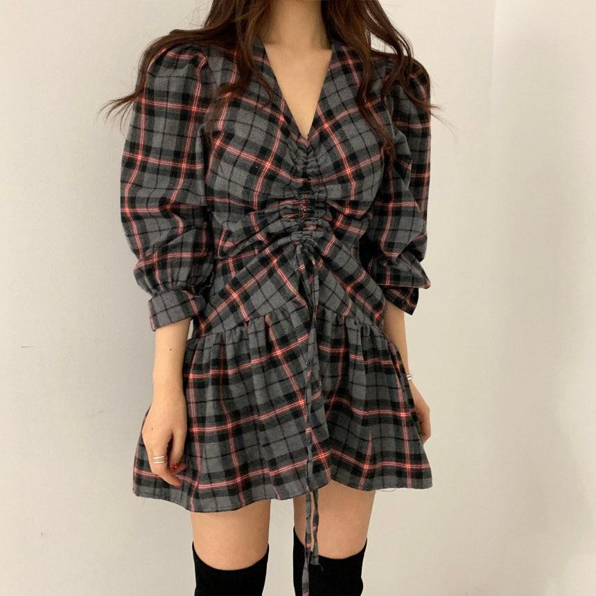 Hbb20feb00ce34529b7d34eb96ac0f23bg - Autumn V-Neck Puff Sleeves Waist-Controlled Color-Hit Plaid Drawstring Mini Dress