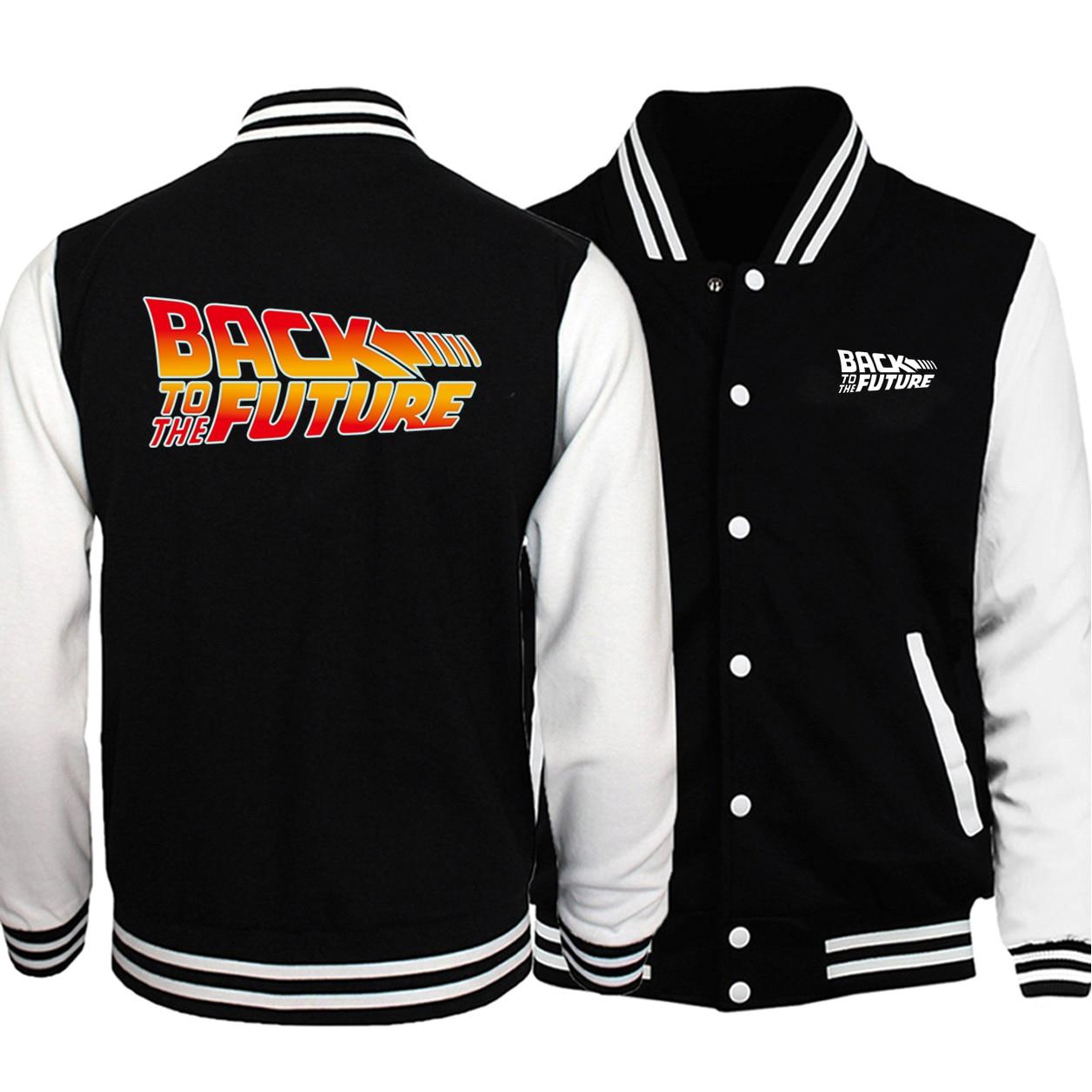 Back to the future Mens baseball jacket Coat Fashion uniform fluffy fleece sweatshirt 2020 fall winter funny button hoodies Men