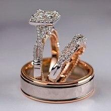 Huitan luxo princesa corte zircão cúbico casamento nupcial anéis 3 pc/set elegante acessórios brilhante feminino casamento na moda jóias