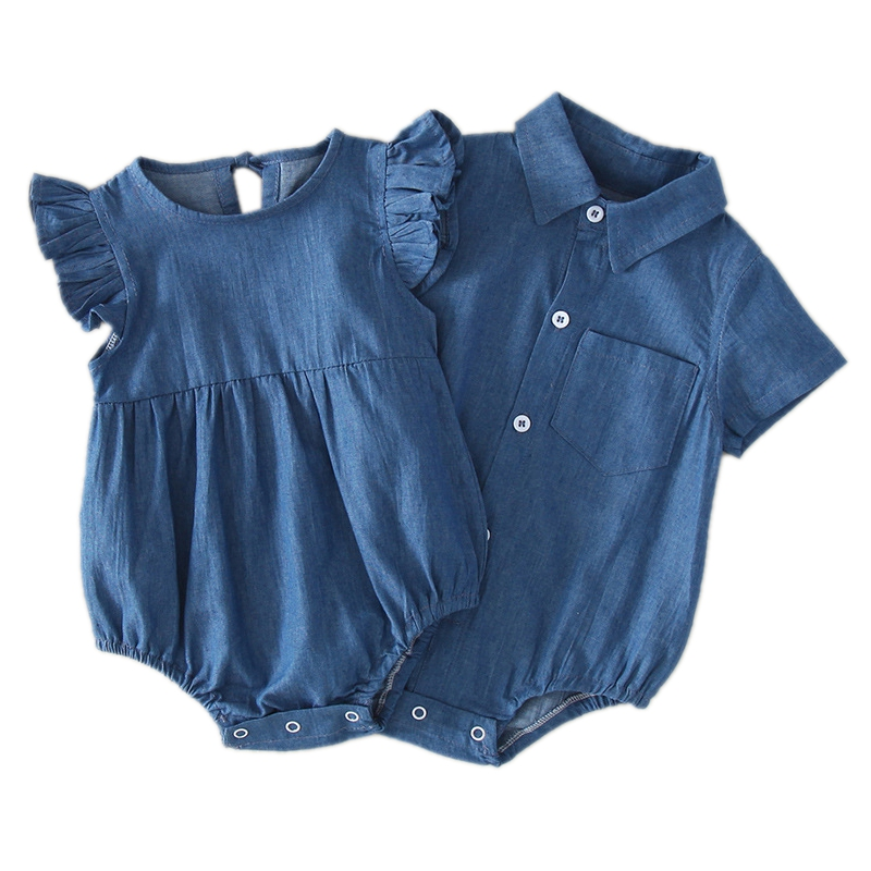 Newborn Baby Girl Boy Clothes Bodysuit Body Toddler Girl 2020 Summer Shorts Denim Romper T Bodysuits Infantil Onesie Twin Outfit