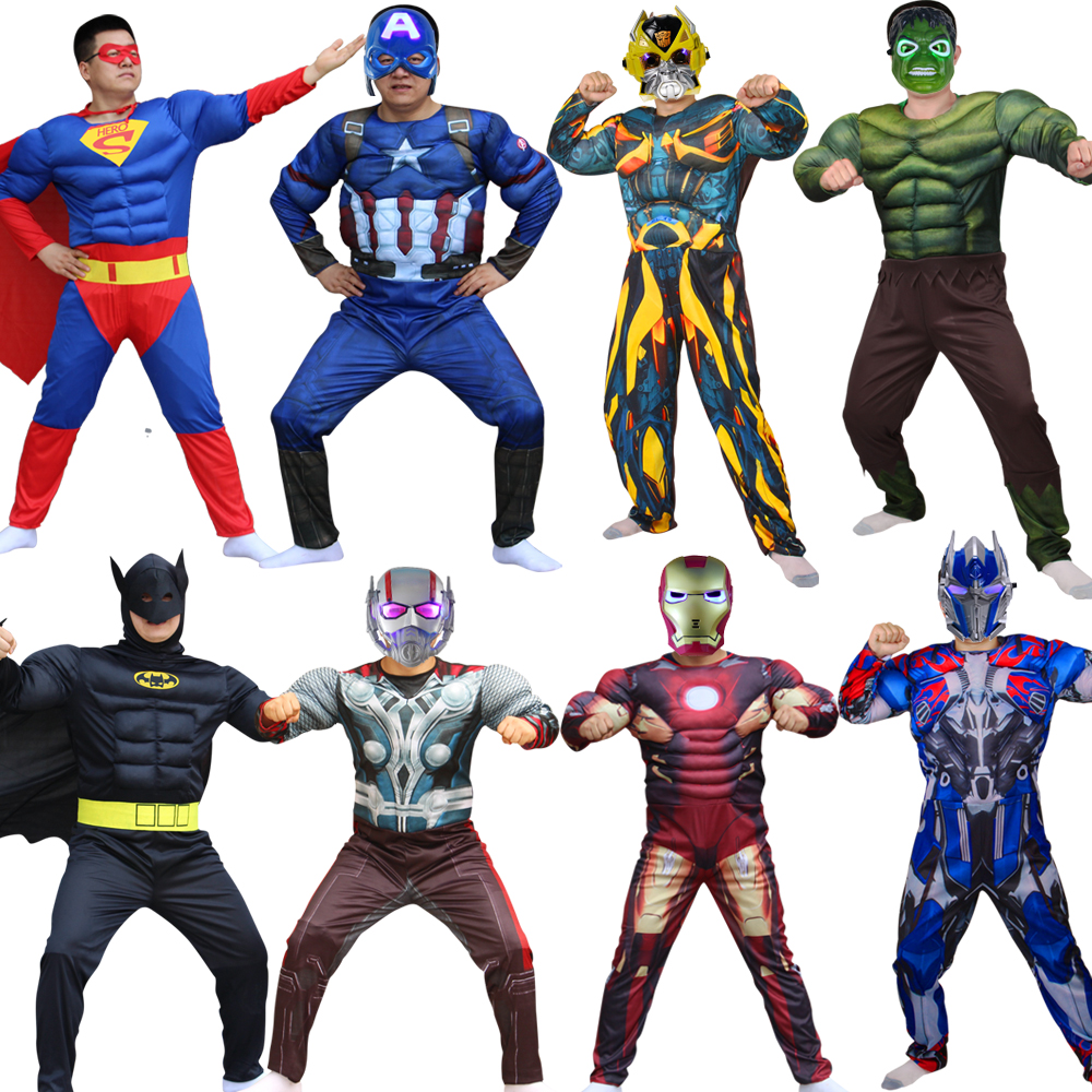 Superhero Batman High Quality Captain America Hulk Mask Holiday Cosplay Costumes Adults Men Women Batman Halloween Dress Up