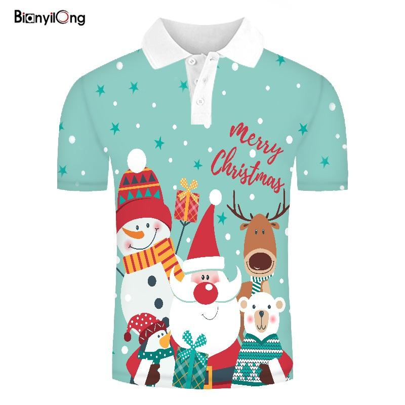 2019 New Polo Designed POLO Shirts Funny Men Summer Tops 3d Shirts Christmas Tree Print Polo Homme Hip Hop Tops Polo Shirt