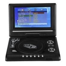 Mini TV portátil Televizyon de 7,8 pulgadas, reproductor de DVD, pantalla giratoria, recargable, cargador para televisor y coche, Gamepad de 100-240V