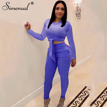 Simenual Bandage Fashion 2019 Women Two Piece Sets Casual Sporty Active Wear Autumn Outfits Solid Basic Long Sleeve Top And Pants Matching Set