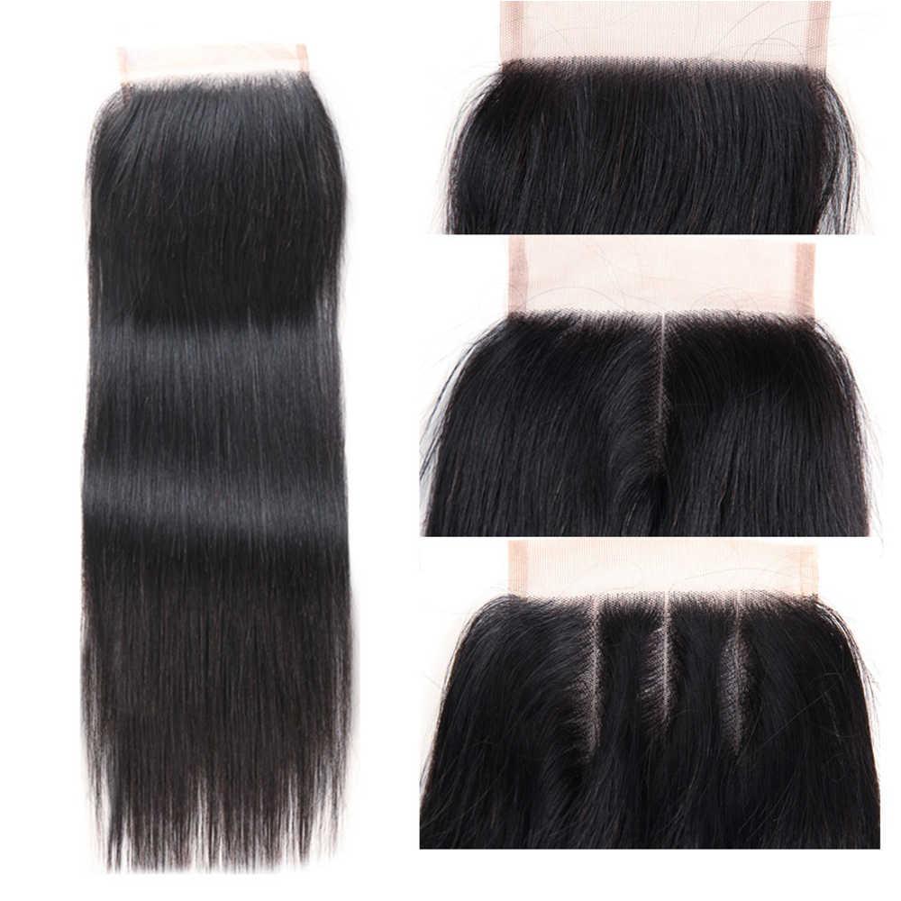 Joedir cabello humano cabello 3 4 mechones con cierre brasileño recto tejido no Remy cabello 28 30 pulgadas mechones con cierre