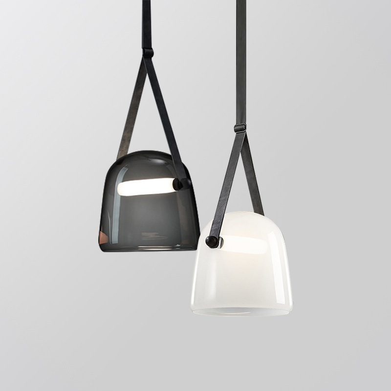 Iskandinav postmodern cam avize sanat deri başucu yatak odası tasarımcı modeli odası bar küçük avize title=