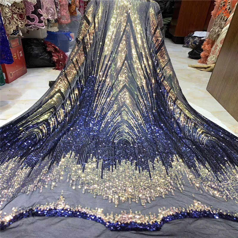 High Quality African Lace Fabric With Gold Sequins Tissu Indian Wedding Dress Fabric French Swiss Voile Mesh Tulle Lace Material