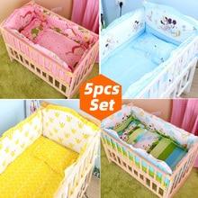 5 uds recién nacido juego de cama para bebé para niña niño juego de ropa de cama para cuna de bebé parachoques cuna bebé niños juegos para cuna cama de bebé parachoques 90x50cm CP01S