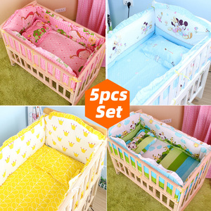 5PCS Newborn Baby Bedding Set For Girl Boy Baby Crib Bedding Set Baby Crib Bumper Kids Crib Sets Baby Bed Bumper 90x50cm CP01S(China)