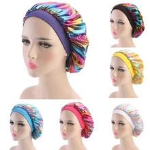 Новая Атласная шапочка, одноцветная тюрбан, химиотерапия шляпа для девочек, широкая эластичная лента, одноцветные шапочки для ночного сна, Skullies, кепка chemo, модная