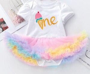 Narodziny dziecka dziewczyny bawełna Romper koronki Tutu sukienka księżniczka dzieci pajacyki dziecięce kombinezony ubrania noworodka po raz pierwszy upominki na imprezę urodzinową