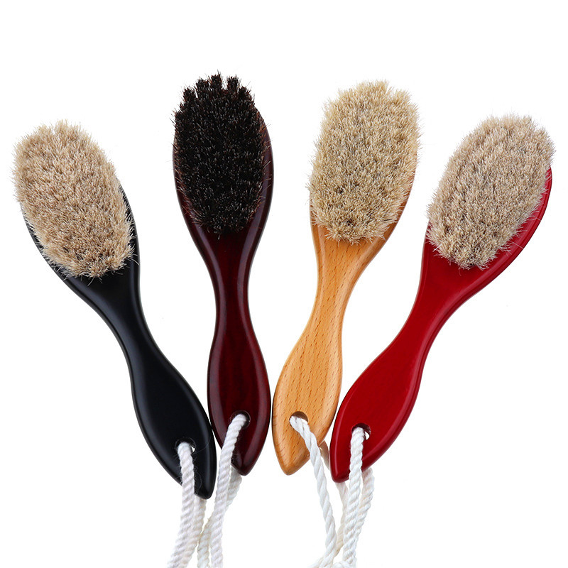 4Color Natural Soft Goat Bristle Hair Sweeping Brush Beard Comb Oval Wood Handle Barber Dust Brush For Broken Hair Cleaning Tool