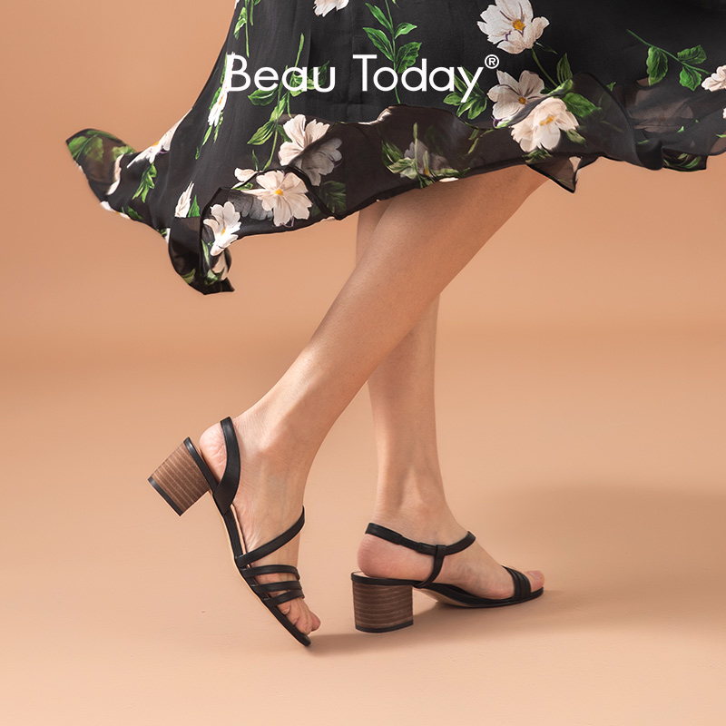 BeauToday Gladiator Sandals Women Genuine Cow Leather Elastic Band Back Strap Summer Ladies High Heel Shoes Handmade 31079