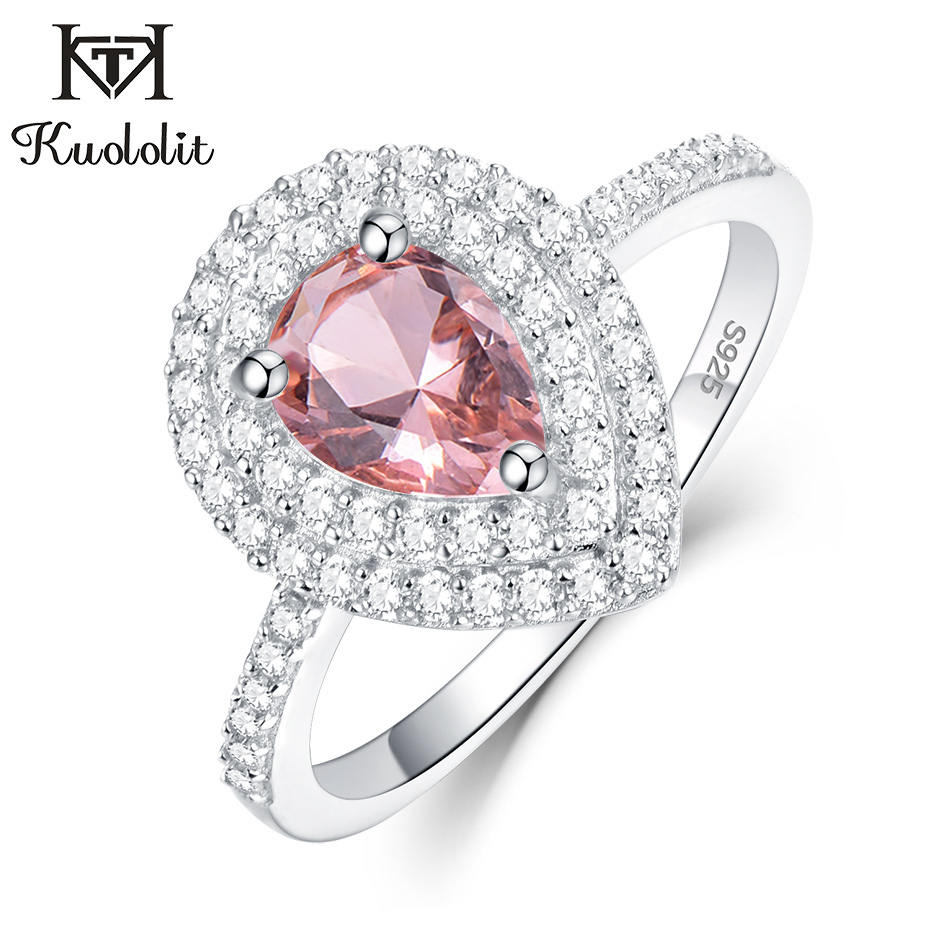 Kuololit Morganite Gemstone Rings For Women 925 Sterling Silver Pear Cut Created Pink Stone Ring Engagement Wedding Fine Jewelry
