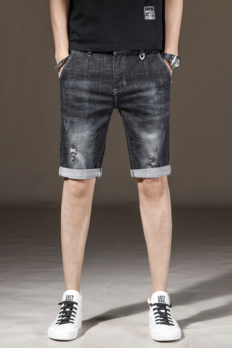 2019 Summer Thin Section Cowboy Shorts Men's Elasticity Slim Fit With Holes Trend Shorts Take Black Gray Shorts