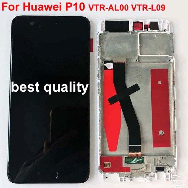 HUAWEI P10 ekran çerçeve ile LCD dokunmatik ekran orijinal için HUAWEI P10 LCD ekran ile parmak izi 5.1 inç VTR L09 L10 l29
