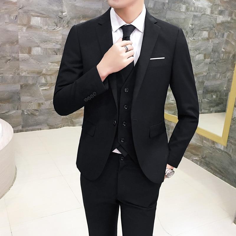 MEN'S Casual Suit Men's Groom Coat MEN'S Suit Three-piece Set Plus-sized Suit
