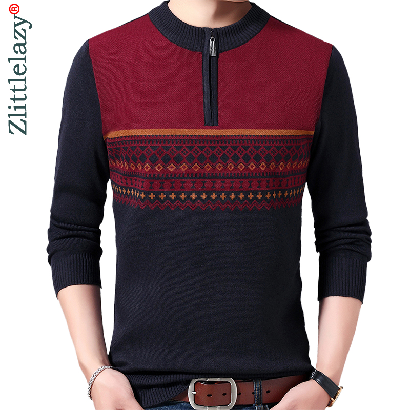 2019 Casual Thick Warm Winter Zipper Knitted Pull Sweater Men Wear Jersey Dress Pullover Knit Mens Sweaters Male Fashions 02197