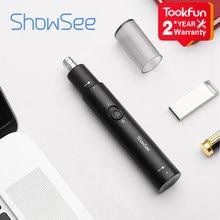 Showsee C1-BK aparadores de nariz elétrico portátil mini orelha nariz cabelo barbeador clipper à prova dwaterproof água remoção segura limpo confortável