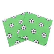 100 Pcs Printed Feature Soccer Pattern Paper Napkins For Event Party Decoration Tissue Paper Towels Daily Necessities(Green) vintage printed rose flower dragonfly paper napkins for event
