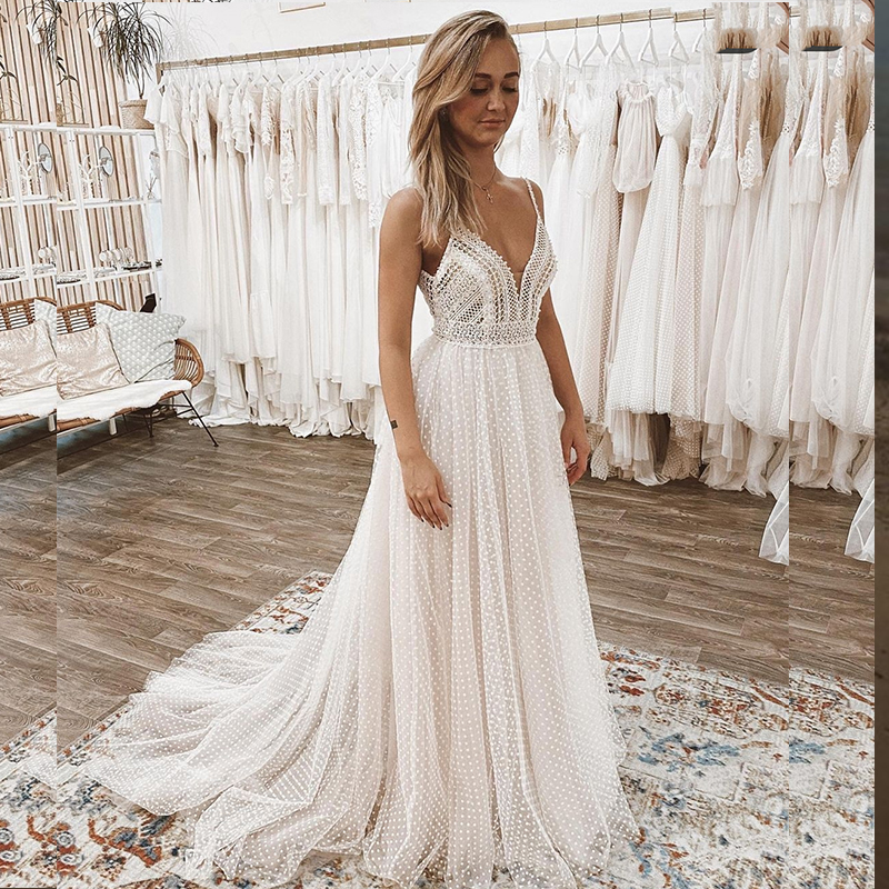 Princess Wedding Dress Bohemian Rustic Boho Civil Sweep Train Bridal Gown Sleeveless Spaghetti Strap Beach Elegant For Women