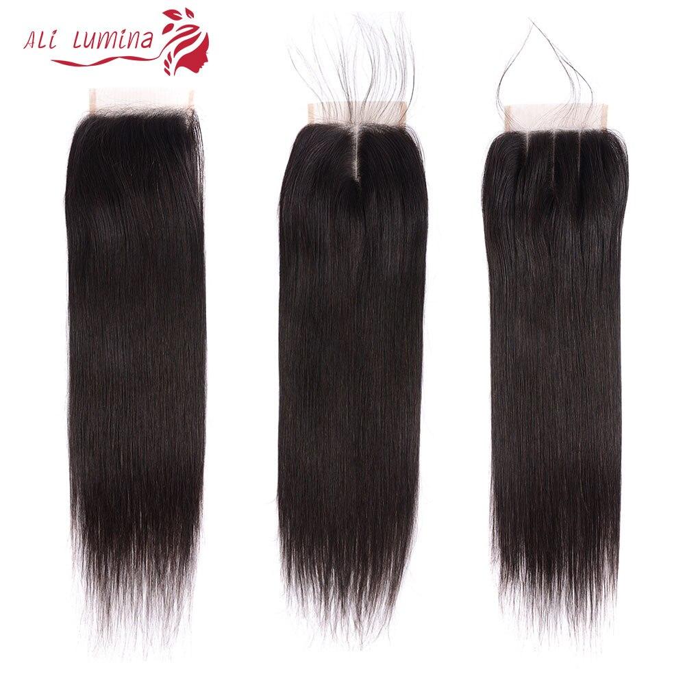 Ali Lumina 4X4 Straight Human Hair Lace Closure With Baby Hair Brazilian Hair Lace Closure With Natural Hair Line Remy Hair Closure 8-22 Inches