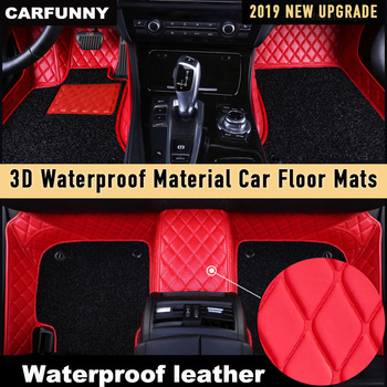 CARFUNNY Waterproof Anti-dirty Leather car floor mats for BMW 1 series M135i M140i E81 E82 E87 E88 F20 Custom Automotive Carpet