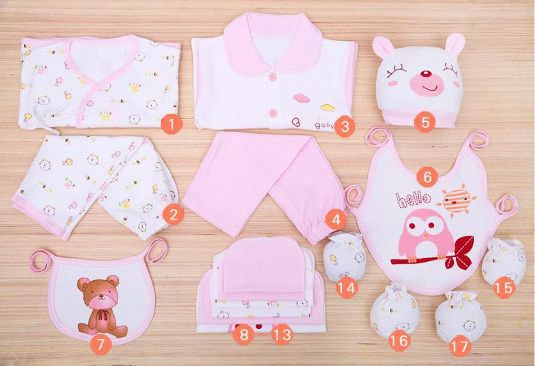 Green Ants Spring And Summer Autumn 17 Pieces Baby Gift Package Newborns Clothes Infants Clothing Kids BABY'S FIRST Month Gift B