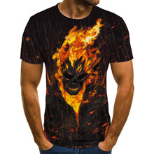 Nova camiseta masculina com impressão los verão 3D fazer crânio do diabo camiseta preta gola redonda camiseta tamanho grande