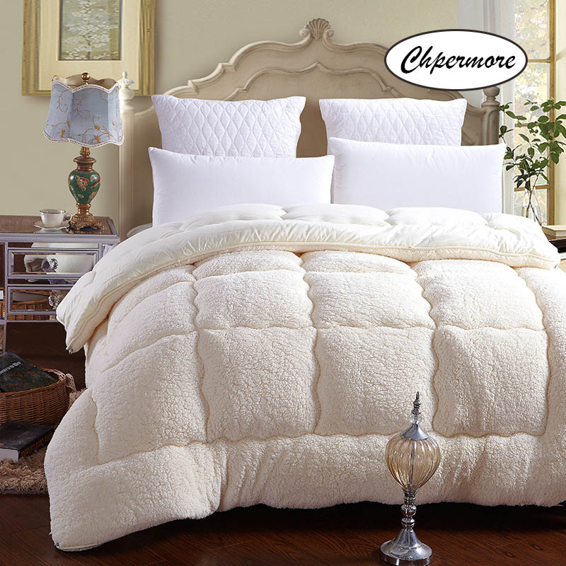 Chpermore 100 %  Lamb Cashmere Quilt Duvets Five Star Hotel  Winter Comforters 100% Cotton Cover King Queen Twin Full Size