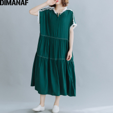 DIMANAF Summer Plus Size Dress Women Clothing Fashion Elegant Lady Vestidos Sund