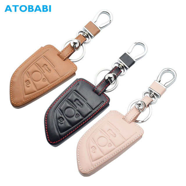 Leather Car Key Case For BMW 1 2 5 Series 218i X1 F48 X5 X6 F15 3 Buttons Smart Remote Control Fob Cover Keychain Protection Bag