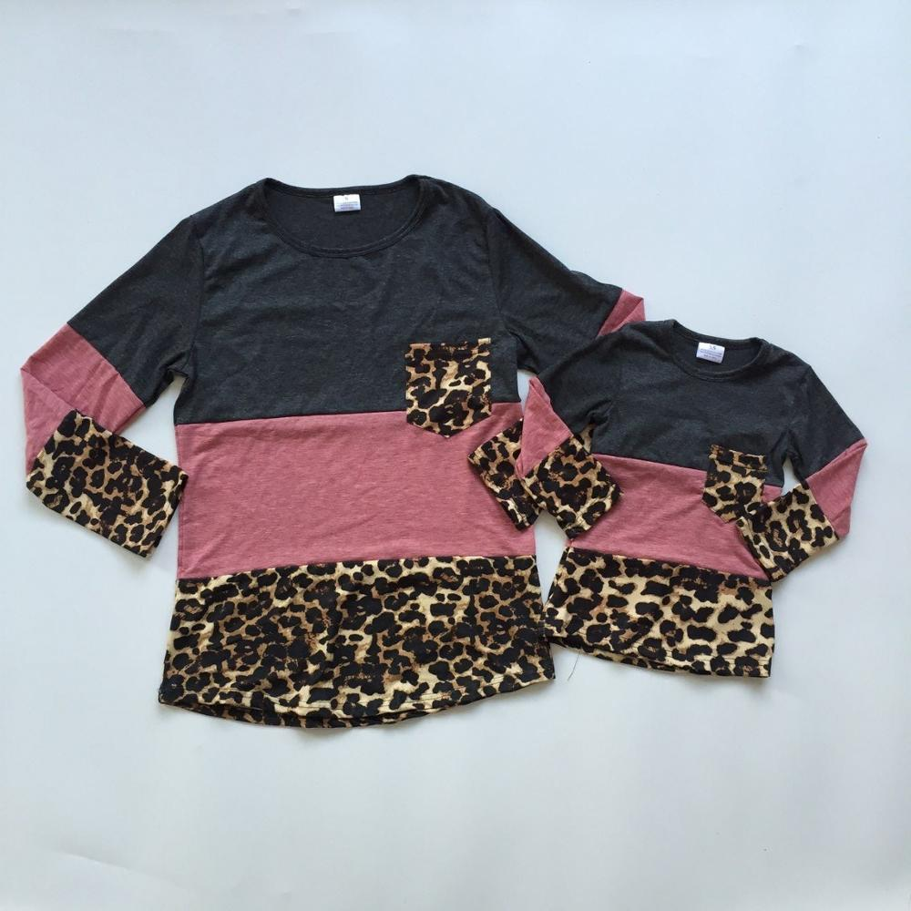 Leopard-Print 3-Parts Raglans Girls Fall/autumn Children Top-Shirts Me Mom Mommy And