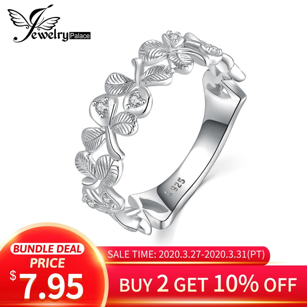 JewelryPalace Lucky 3 Leaf Clover CZ Ring 925 Sterling Silver Rings For Women Party Stackable Wedding Rings Silver 925 Jewelry