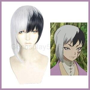 Anime Dr. Stone peluca Asagiri Gen Cosplay pelo mezclado blanco negro corto sintético peluca resistente al calor Comiket adultos juego de rol