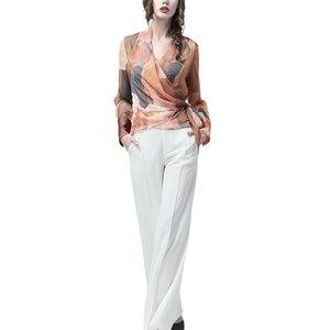 Image 5 - Chiffon Women Top Artistic Orange Print Sexy Slim Blouses Crossed V Neck Long Sleeve Fashion Ladies Summer Autumn Casual Blouse