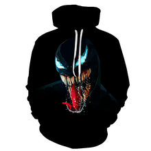 Best selling new popular movie venom 3D printing hoodie mens and womens hooded sweatshirt hip hop pullover pocket S-6XL