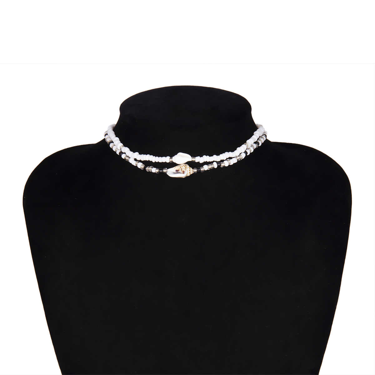 Shixin separável 2 em camadas branco/preto grânulos colares coreano pequeno frisado concha gargantilha colar para colar de moda feminina