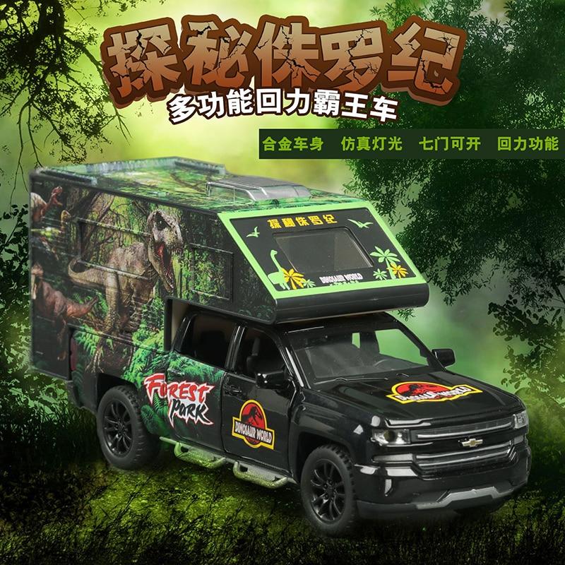 1:32 Big Jurassic Dinosaur Sightseeing Alloy Car Model Diecast Toy Vehicle High Simitation Toys Cars For Children Kids Xmas Gift