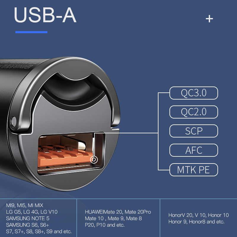 Baseus شحن سريع 4.0 3.0 USB سيارة شاحن آيفون 11 برو ماكس هواوي P30 QC4.0 QC3.0 QC 5A سريع PD USB C شاحن هاتف السيارة