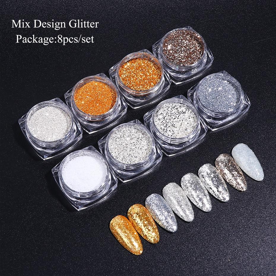 Image 2 - 8pcs Mini Round Shining Nail Glitter Set Powder Laser Sparkly Ultrathin Sequins Chrome Powder For Nail Art Decoration JI1506 15-in Nail Glitter from Beauty & Health