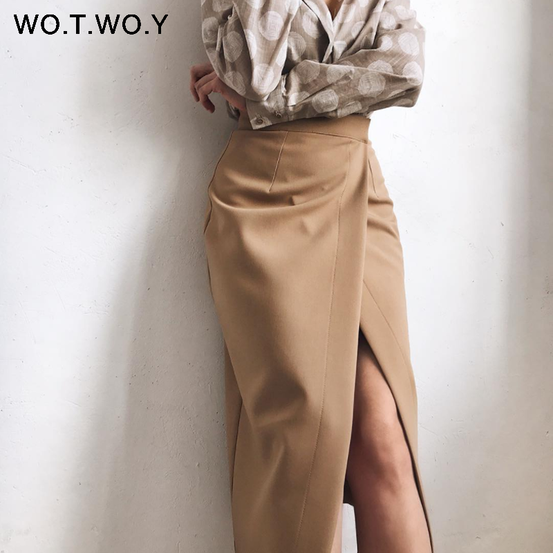WOTWOY Summer Formal High-Waist Women Skirt 2020 Office Lady Mid-Calf Length Straight Women's Skirt Elegant White Skirt Femme