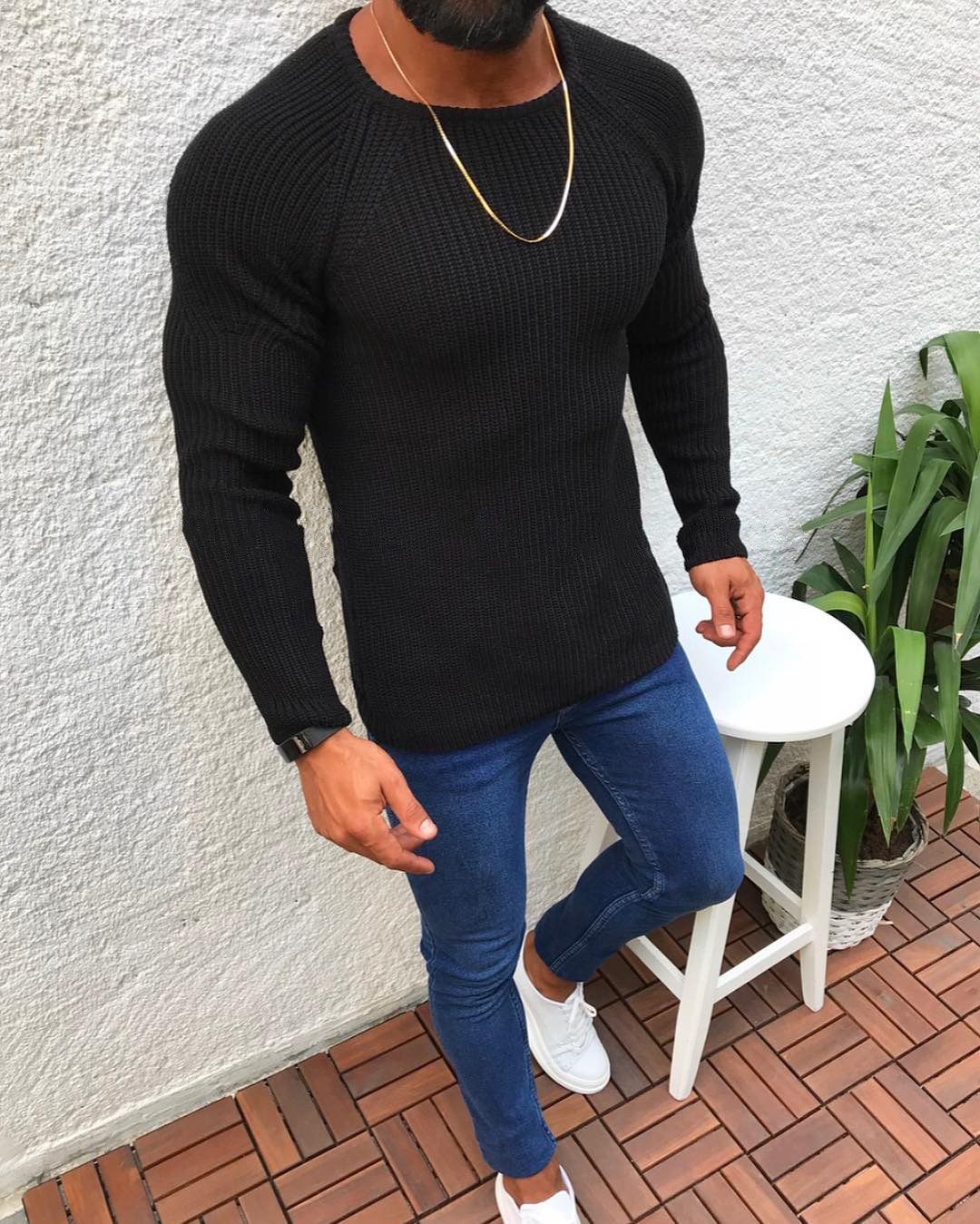 New Knitted Wool Sweaters Solid Color Casual O-Neck Pull Homme Sweater Warm Cotton Pullover Mens Autumn Winter Clothes