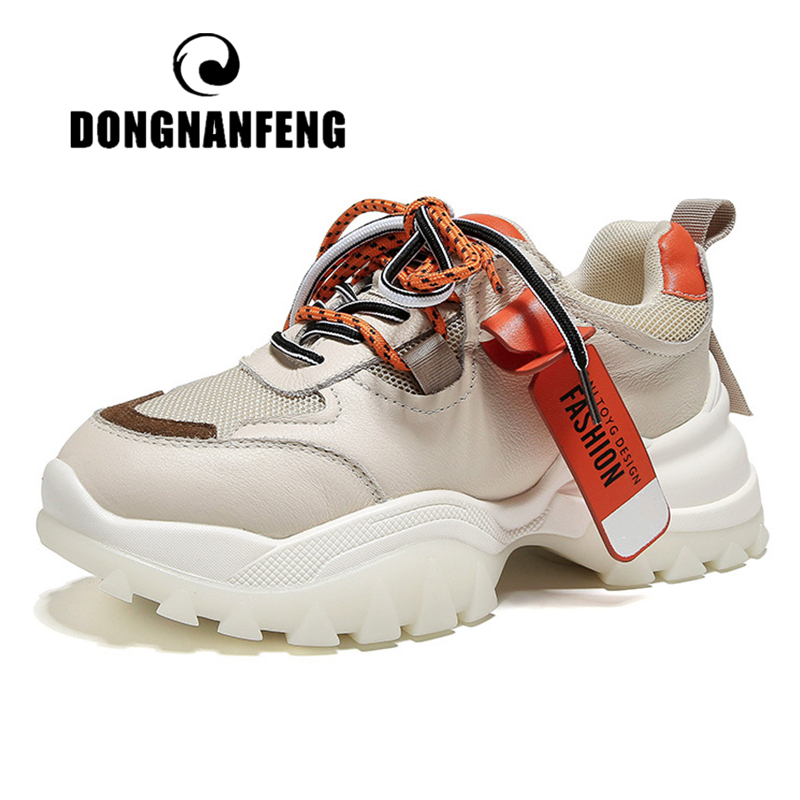 DONGNANFENG Women's Gril Female Woman Genuine Leather Mesh Shoes Sneakers Sports Breathable Korean Vulcanized Shoes XML-1807
