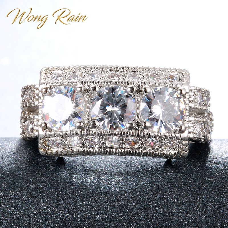 Wong Rain Vintage 100% 925 Sterling Silver White Topaz Gemstone Wedding Engagement Ring Fine Jewelry Wholesale Drop Shipping