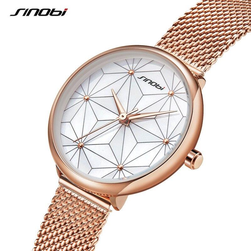 SINOBI Women Fashion Simple Watch Dress Quartz Watches Ladies Stainless Steel Waterproof Wrist Watch Girl Clock Relogio Feminino